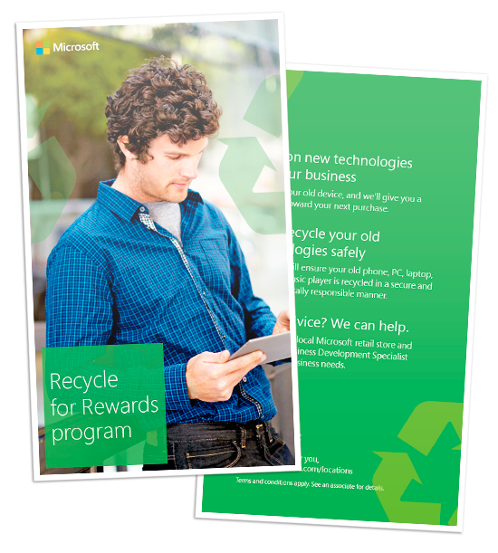 Microsoft Recycle for Rewards brochure